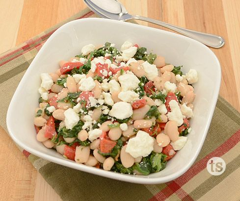 An easy to make healthy and delicious bean and spinach salad.