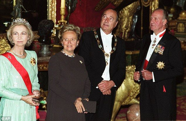 Explosive claims: The book, released this month, claims the former president had an affair with political correspondent Jacqueline Chabrido. (l-r) Queen Sofia, Bernadette Chirac, Jacques Chirac and Spanish King Juan Carlos in 1999