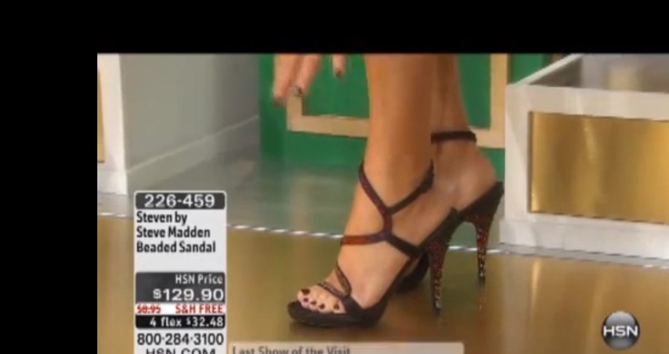 wow Kathy Wolf hsn host wit pretty feet n lovely gladiator sandals