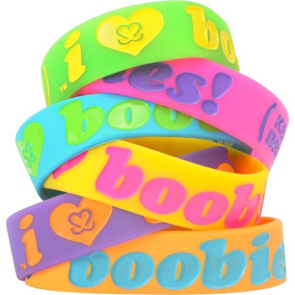 Keep A Breast Foundation Neon Boobies Bracelet ($3.95) ❤ liked on Polyvore featuring jewelry, bracelets, accessories, rubber bracelets, pulseras, keep a breast, neon jewelry, i love jewelry, neon bangles and rubber jewelry