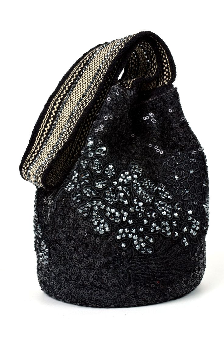 Black Lique Mochila Bag from the #SilviaTcherassi Wayúu Collection. Crystallized with Swarovski crystals.