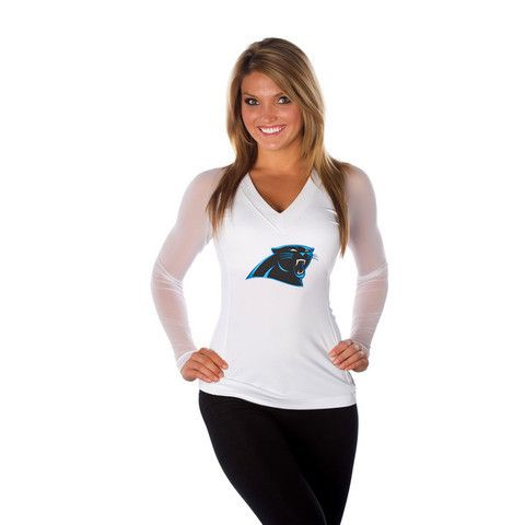 "Carolina Panthers Women's Official NFL """"Wildkat"""" White Top"