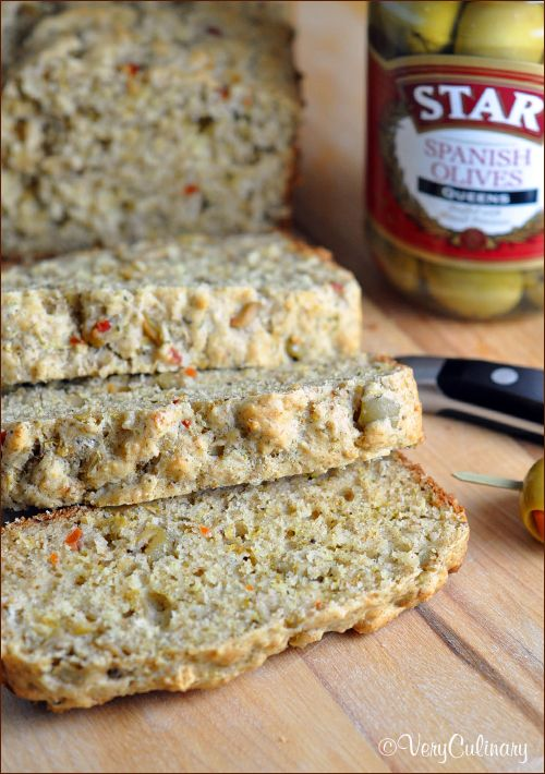 This savory quick bread includes olives, sweet onion, Parmesan, and buttermilk. Perfectly delicious on its own or great served with a salad!