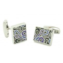 Chelsea Jewelry Premium Collections Contemporary Abstract Figure Design  Enamel Cufflinks