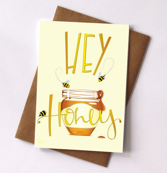 Hey Honey Blank Greetings Card by FelicityMildred on Etsy, £2.50