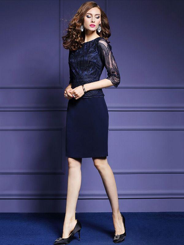 Dark Blue Embroidered Sheer Mesh Detail Bodycon Dress