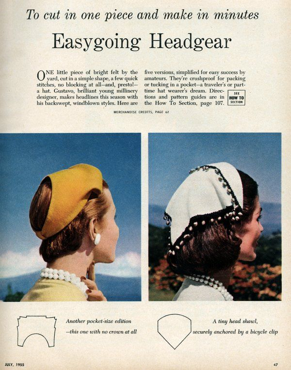 Simple one-piece hats you can make (1955) Easygoing headgear To cut in one piece and make in minutes page 2
