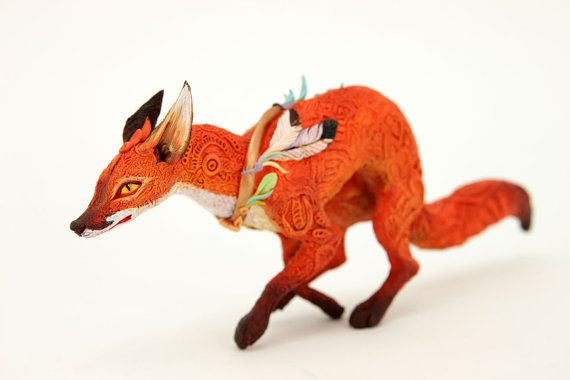 Hey, I found this really awesome Etsy listing at https://www.etsy.com/listing/235299346/running-red-fox-fantasy-figurine