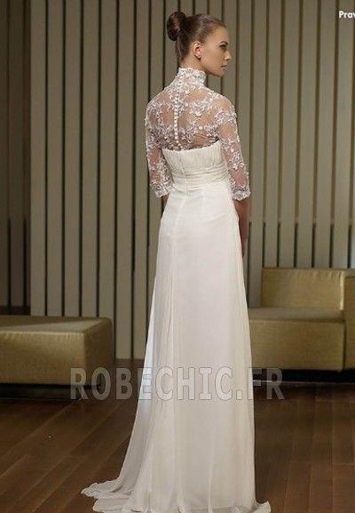 Robe de mariée Empire Manche Aérienne Avec voile Mousseline de soie