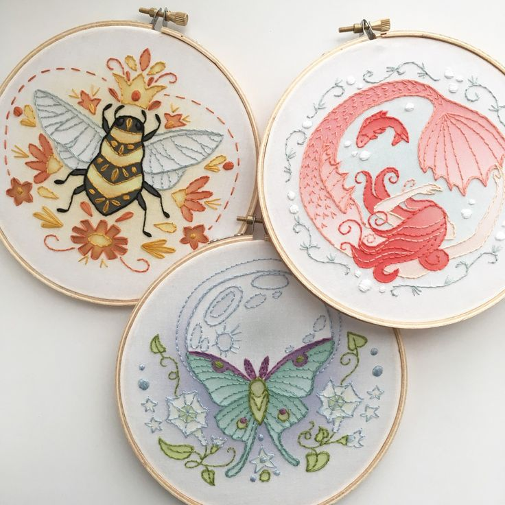 Embroidery kits have arrived at little dear!! 3 different kits include everything you need to stitch up a lovely piece of art.