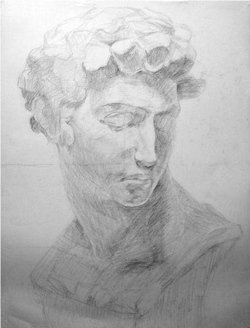 石膏像の鉛筆デッサン描き方過程05