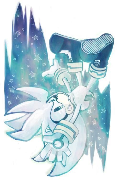 "Pg. 77-So far Silver and I are not getting off on the right foot. Still, I still try to be understanding. He is Blaze's friend, after all. ""The party's probably over by now,"" Silver says sadly. The party's the least of our problems. As we approach the house, Sonic meets us. ""How did it go?"" ""Not quite the way I'd hoped,"" I said, glancing at Silver and gritting my teeth. ""We beat three of them,"" said Espio."