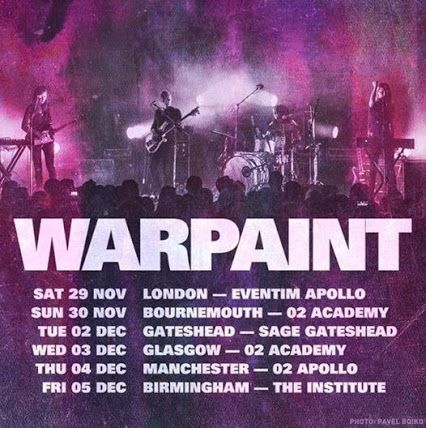 NEW! Following their Glastonbury Festival performance on the weekend, US indie quartet Warpaint have lined up a 6-date tour, kicking off at ...