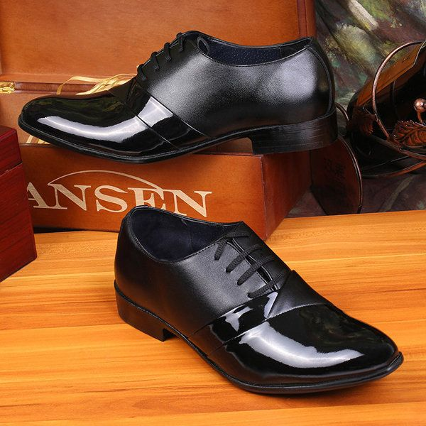 Men Black Pointed Toe Lace Up Color Match Formal Office Shoes