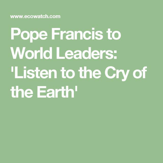 Pope Francis to World Leaders: 'Listen to the Cry of the Earth'