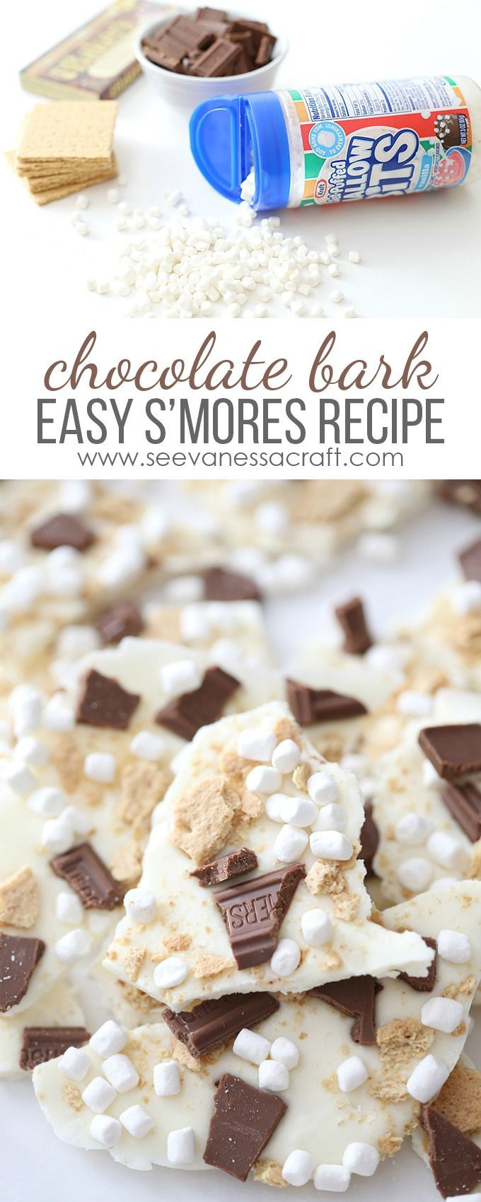 Make a batch of S'mores Chocolate Bark for a camping themed party treat or rustic wedding party favor. Easy marshmallow recipe! /kraftjetpuffed/ #ad #JetPuffed #JetBuffedBlogger