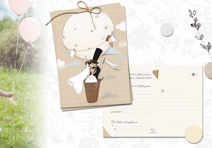 50 liebevoll illustrierte Ballonflugkarten (DIN A6). **Wunderschönes Hochzeitsspiel. Auch als kreatives Geschenk prima geeignet!** An eurer Hochzeit steigen 50 Ballons in die Lüfte und gehen...