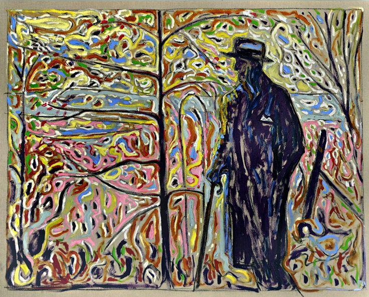 wetreesinart:  Billy Childish (Brit, born 1959), Sibelius Amongst Saplings, 2010, oil and charcoal on linen, 152x122cm
