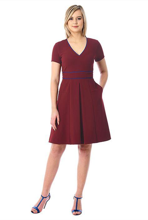 Contrast piped trim jersey knit dress #eShakti