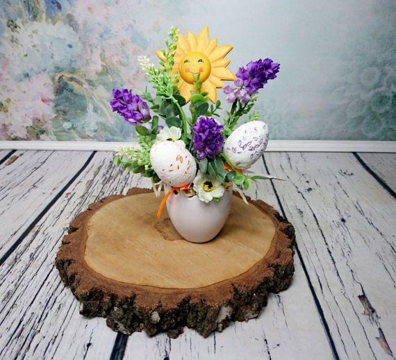 Easter flower arrangement purple hyacinth sun by MKedraHandmade