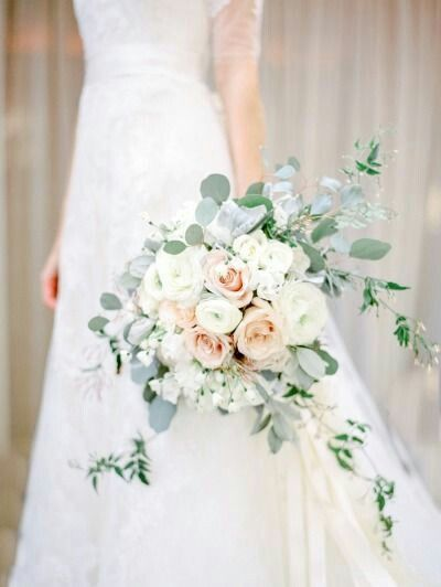 Ivory, blush, and sage romantic, natural bouquet