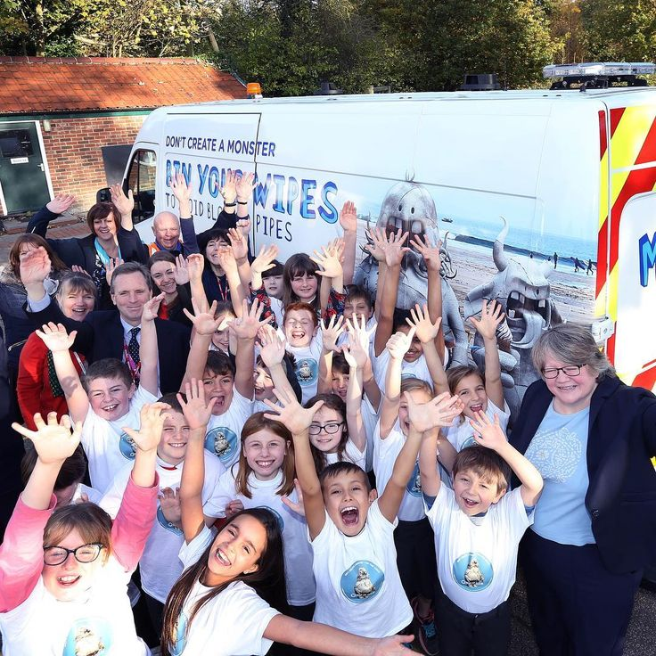 Today we went to Nacton Primary School in Suffolk with Water Minister Therese Coffey to unveil a new fleet of vans featuring monsters made of wipes and fat. We hope these vans out on the road across our region will help get across the vital message that putting the wrong things down our toilets and sinks causes sewer blockages leaks and pollution. It can also harm marine wildlife and that's why we're very pleased to be working with the Marine Conservation Society (@mcs_uk) on this campaign…