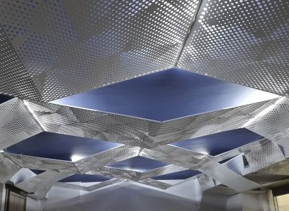 Suspended ceiling with perforated aluminium.Project 2015. Innovative Architectural Products. Life is in the details. www.metalaxi.com