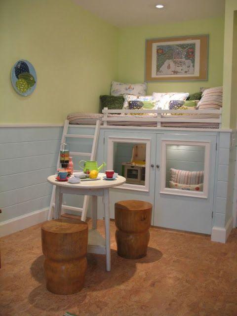 basement playroom.  I love the hidden playhouse under a nap/reading loft. it just needs a slide coming down. :)