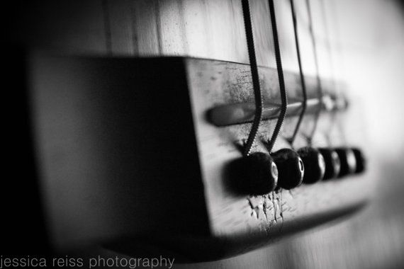 Black And White Acoustic Guitar Photography Art Print Guitar Strings