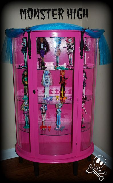 Monster High Display Cabinet - paint Nana's curio pink - i think all Barbie dolls should be dressed as each girls challenging classmates/teachers so that they use dolls to practice dealing with difficult situations. Dolls help girls to feel more in control and to learn important coping skills for everyday living. Can also bring about healing from past emotional wounds.