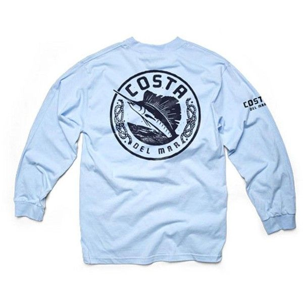 Costa Del Mar Maritime Long Sleeve T-Shirt ($16) ❤ liked on Polyvore featuring tops, t-shirts, blue cotton t shirts, logo tee, blue long sleeve t shirt, cotton long sleeve t shirts and long sleeve cotton tees