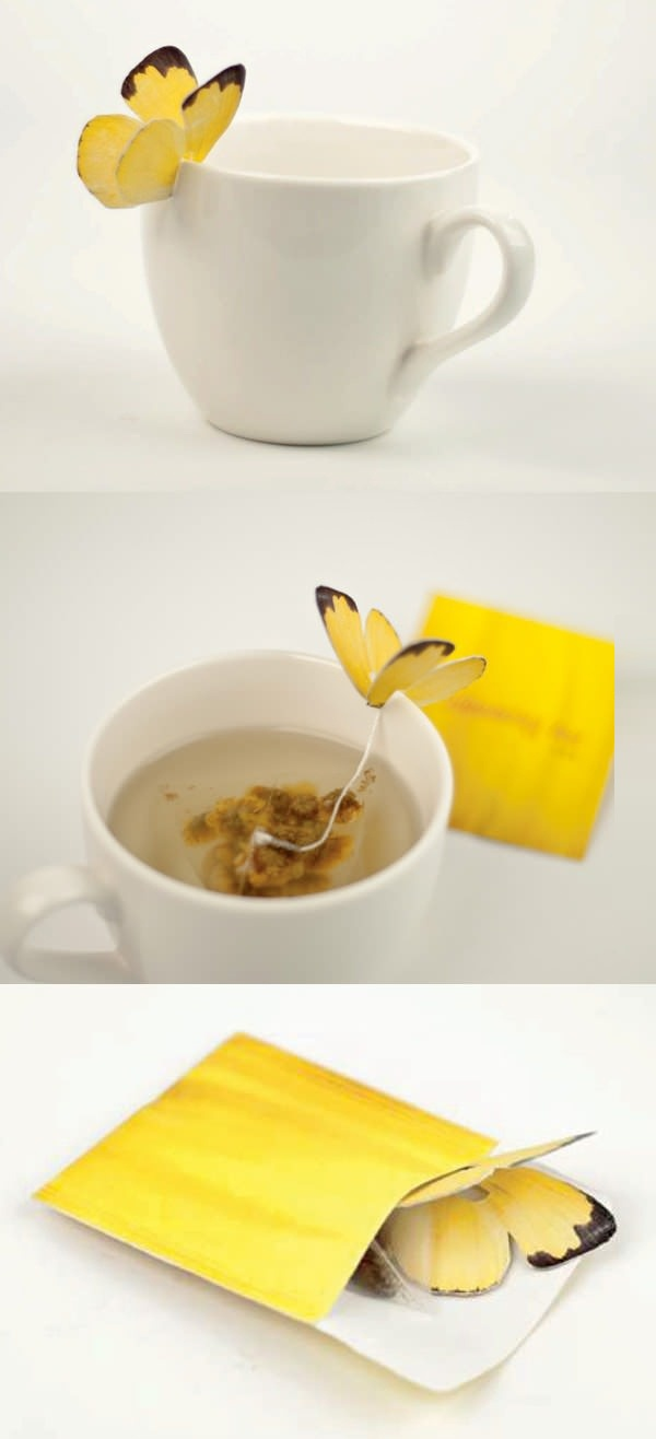 Vlinder thee zakjes  Butterfly teabags.. So cute!