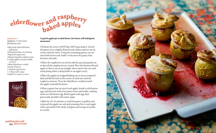 Elderflower and Raspberry Baked Apples. An incredibly simple recipe from the Higgidy Cookbook.