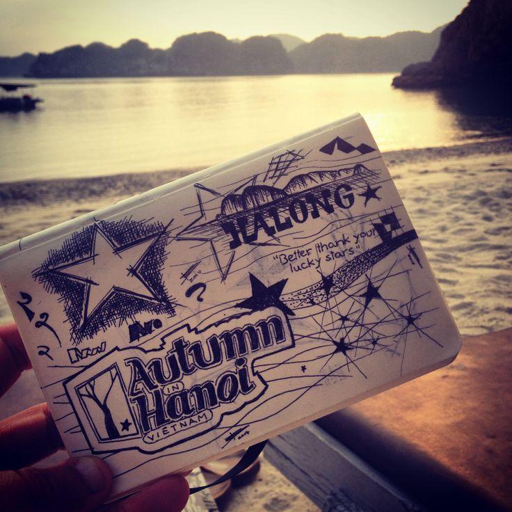 Scenic view and sunset on Monkey Island in Halong Bay, Vietnam photo by: E.R.P. Elschott (creative design workshop) #sunset #beach #moleskin #sketchbook #scenicview #vista #view #halongbay #monkeyisland #resort #belvedere #vietnam #goodtimes