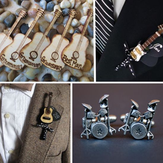 matrimonio tema musica, rock'n'roll wedding boutonnieres and cufflinks