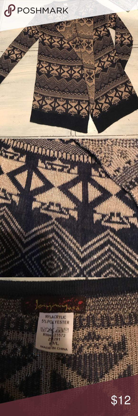 Tribal print cardigan Tunic length tribal print cardigan with metallic gold and navy print ... in excellent condition jaymy Sweaters Cardigans