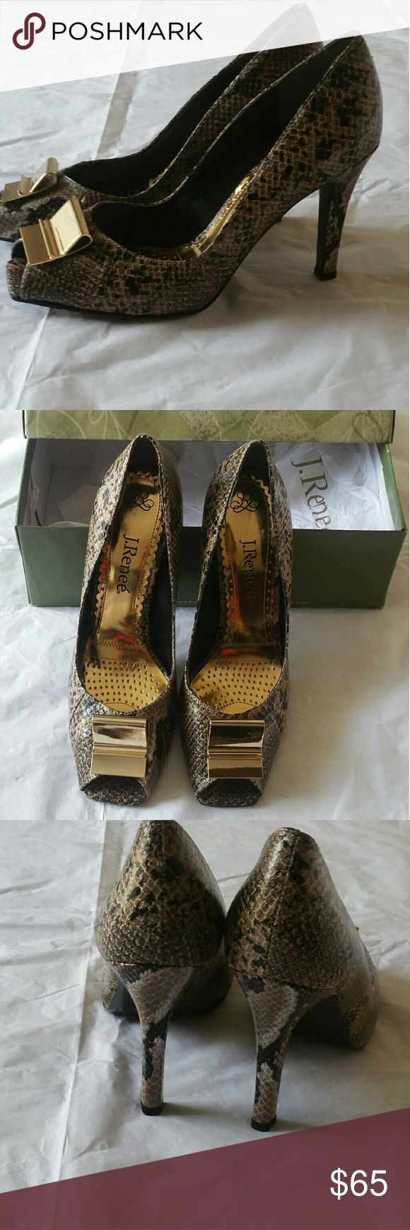 Women shoes J Renee blck and tan animal print  high heels, peep toe , with a gold colored front  buckle. J Renee Shoes Heels