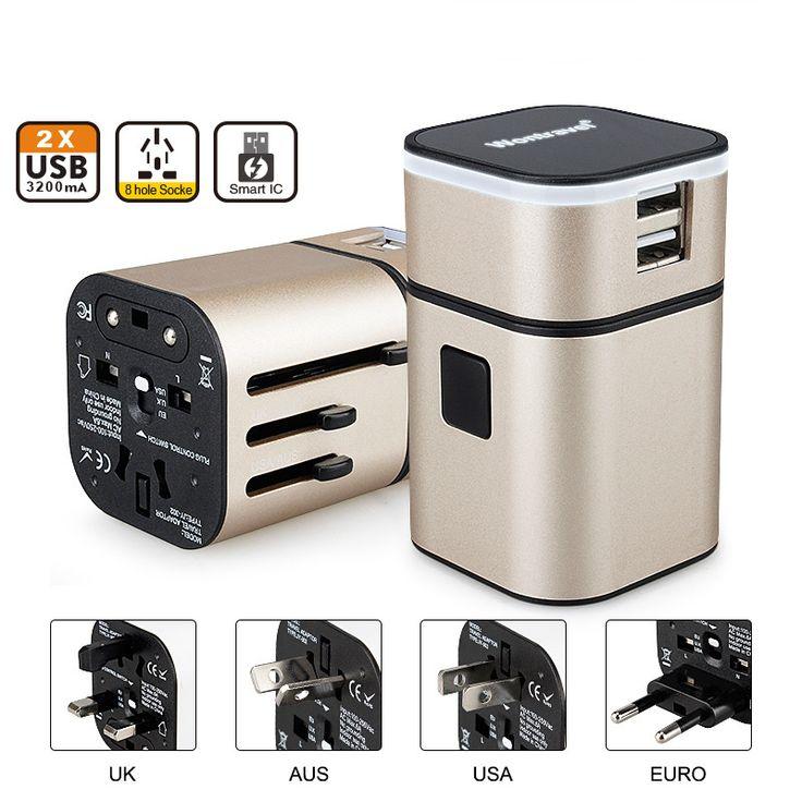 Todo en Uno Universal Adaptador de Enchufe 2 USB Puerto Del Mundo Internacional viaje AC Cargador Adaptador con Enchufe de LA UE EE.UU. REINO UNIDO AU