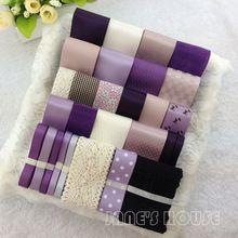 Фиолетовый цвет 28YDS смешанный 28 стиль атлас / корсажная лента лента комикс ленты комплект хлопок кружево лента…