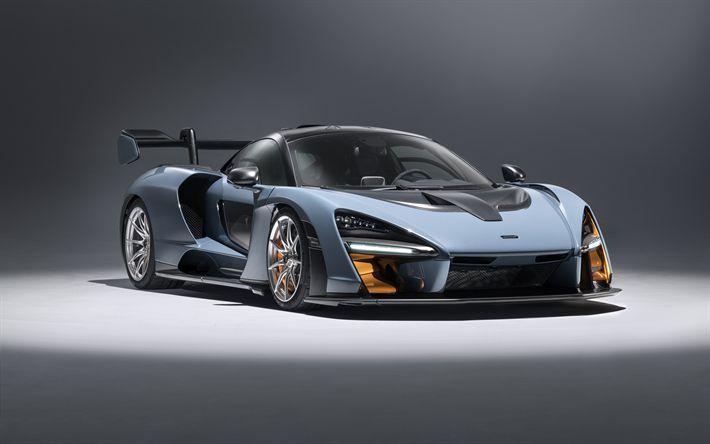 Download wallpapers McLaren Senna, studio, 4k, 2018 cars, supercars, hypercars, McLaren