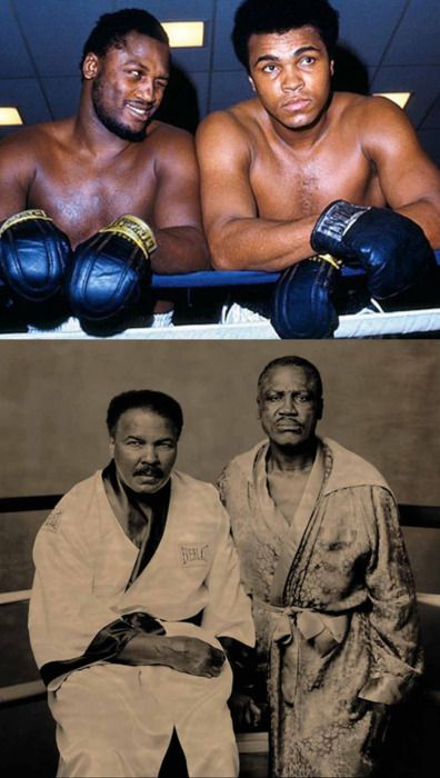 Joe Frazier and Muhammad Ali. Two of the greatest to ever put the gloves on!!