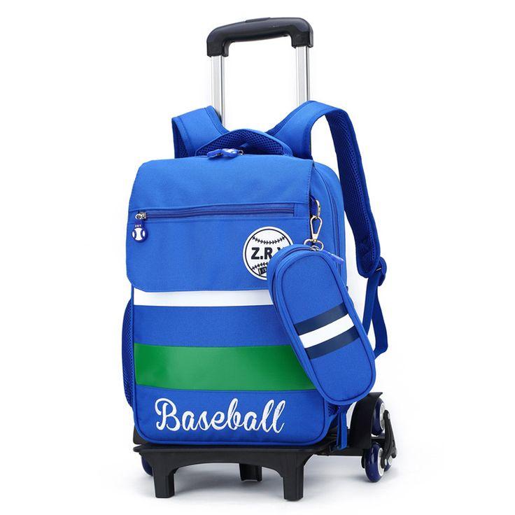 Wholesale Kids Trolley Backpack Students Cartoon Roller Knapsack Children Rolling Bag Boys Girls School bags with Wheels