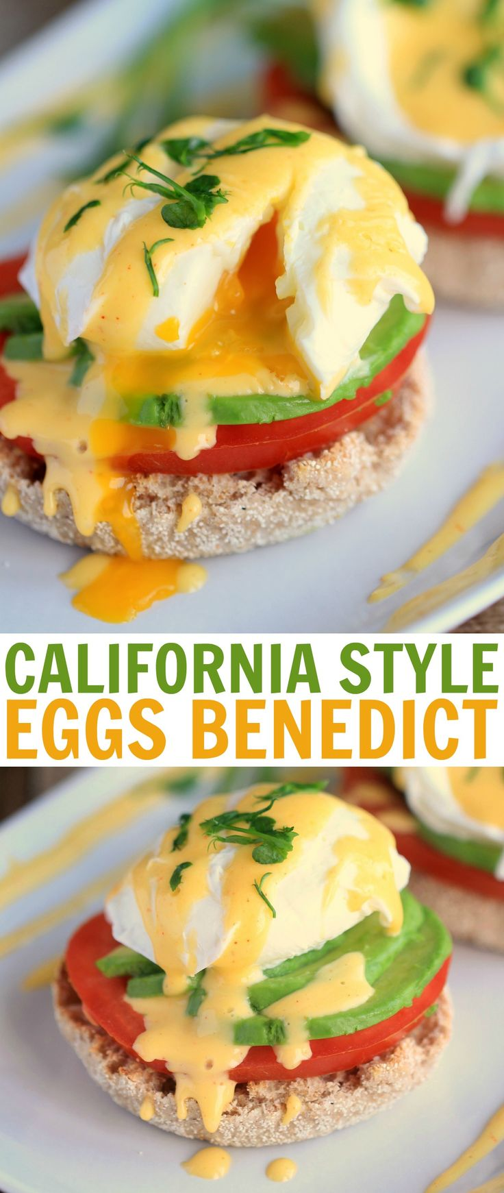 California Style Eggs Benedict= Sunny Side Up Egg Over Tomato Avocado English Muffin