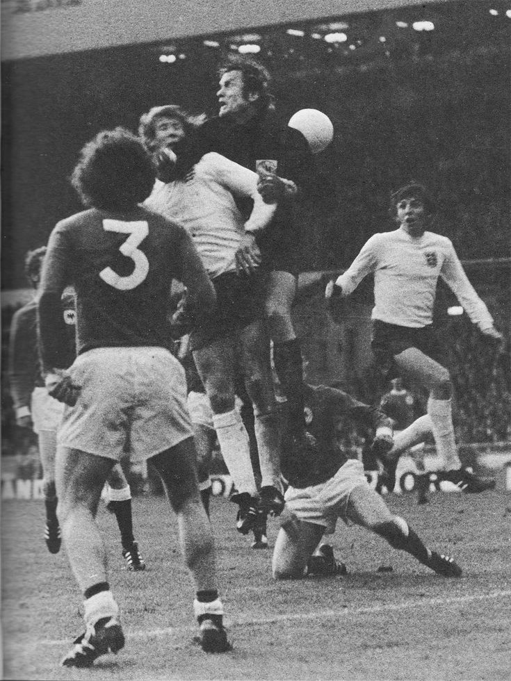 29th April 1972. West Germany goalkeeper Sepp Maier flapping at a cross under pressure from England's Colin Bell in the Nations Cup Quarter Final 1st Leg, at Wembley.