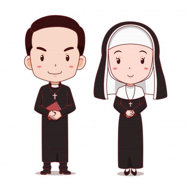 Cartoon Character Of Catholic Priest And Nun Cartoon Cartoon Characters Cartoon Illustration