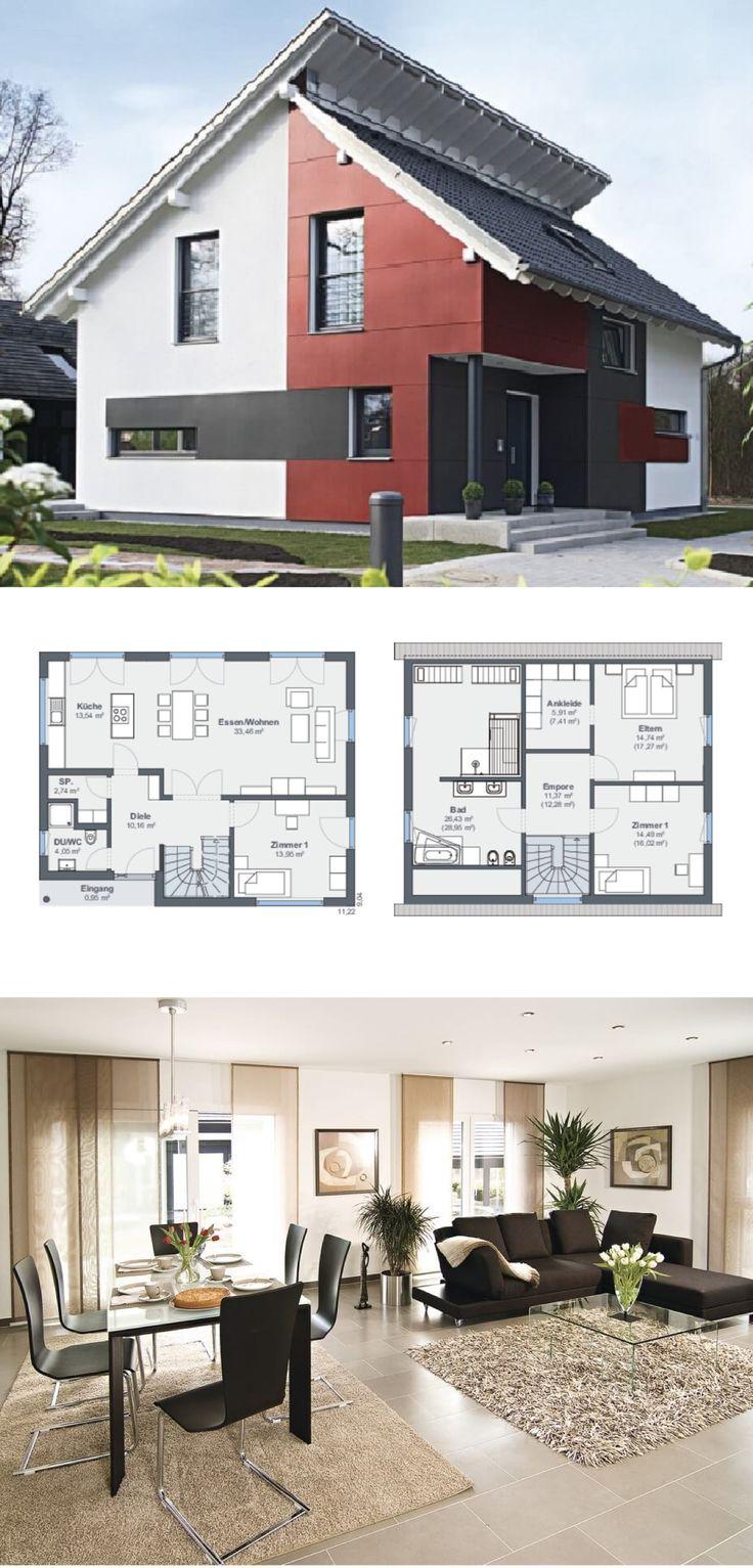 Einfamilienhaus mit Pultdach versetzt, Fassade rot weiß - Fertighaus Grundriss Generation 5.5 Haus 200 WeberHaus - HausbauDirekt.de