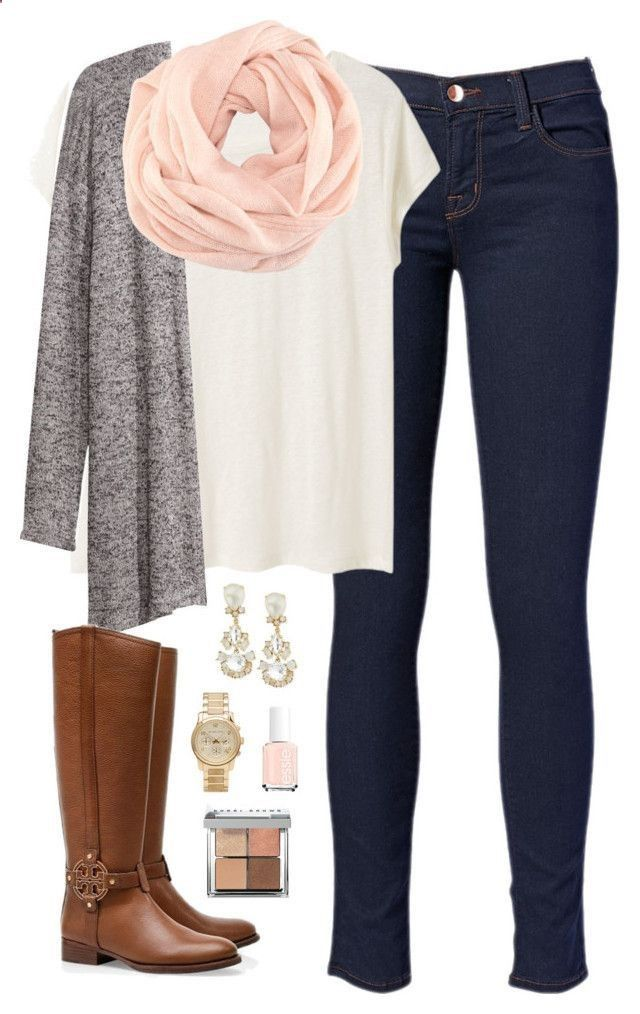 wanting cold weather now by classically-preppy on Polyvore featuring Acne Studios, HM, J Brand, Michael Kors, Kate Spade, Bobbi Brown Cosmetics, Essie and Tory Burch