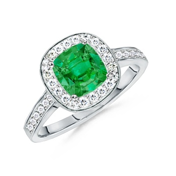 Angara Diamond Framed Emerald Cur Emerald Split Shank Ring in Platinum wnWSsw