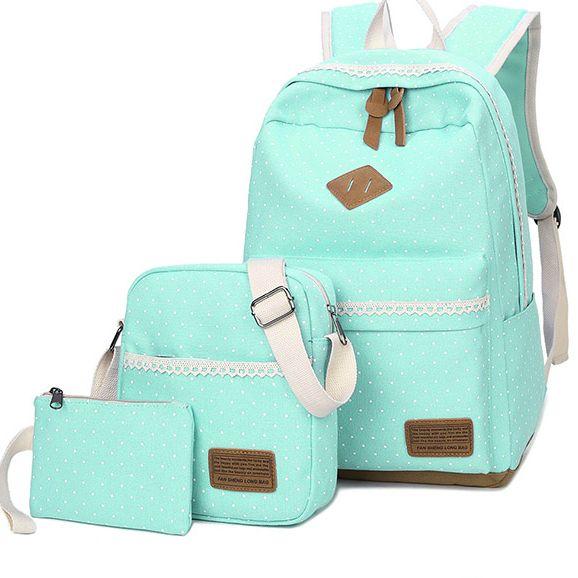 Школьный рюкзак в мелкий горошек 3 в 1, фото 4