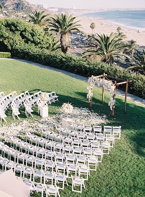 A Chic All-White Wedding in Bel-Air, California, Outdoor Wedding Ceremony Space Overlooking Ocean